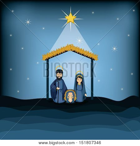 Joseph mary and baby jesus cartoon icon. Holy family and merry christmas season theme. Colorful design. Vector illustration