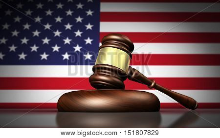 USA laws justice and legal system concept with a 3d rendering of a gavel and the US flag on background.