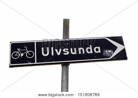 Signposts for cyclists to district Ulvsunda in Stockholm.