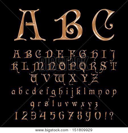 Elegant Gold Font, Alphabet, ABC and numers Vector