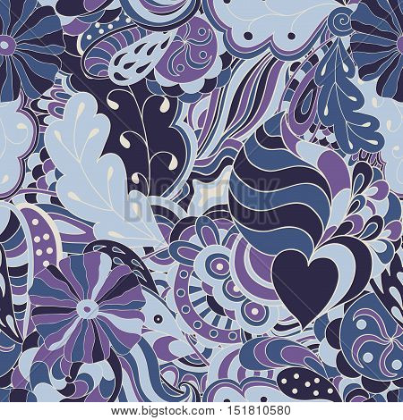 Seamless abstract hand-drawn waves pattern. Blue colored