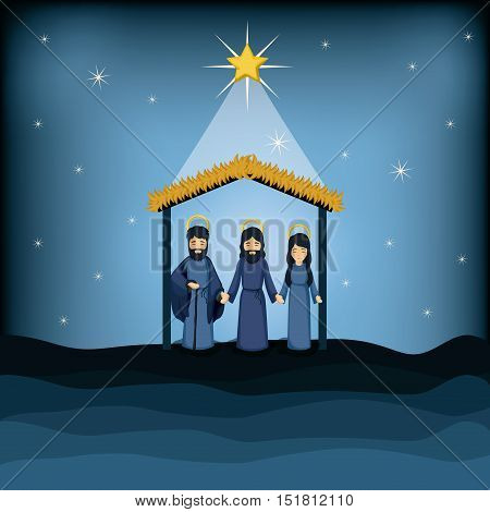 Jesus god joseph and mary cartoon icon. Holy family and merry christmas season theme. Colorful design. Vector illustration