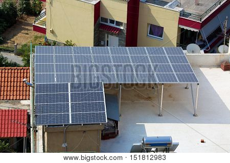 Solar Energy Panels on the Roof of a House in Greece