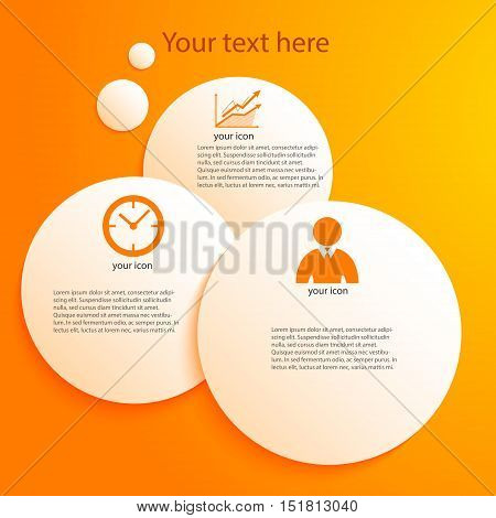 Modern Design infographic style template on white background with numbered 3d effect circle. Vector illustration EPS 10 for new product newsletters web banners pages presentation