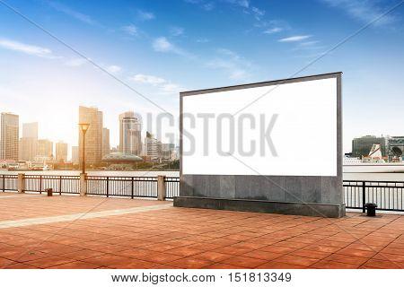 A large blank billboard erected in Shanghai Huangpu River