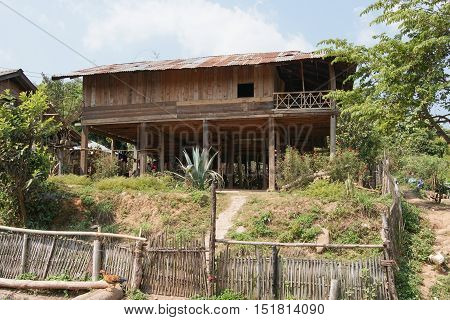 Traditional houses of Hmong minority, Laos, Asia