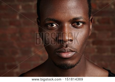 Beauty And Skin Care. Highly-detailed Close Up Portrait Of Good-looking Dark-skinned Young Man With