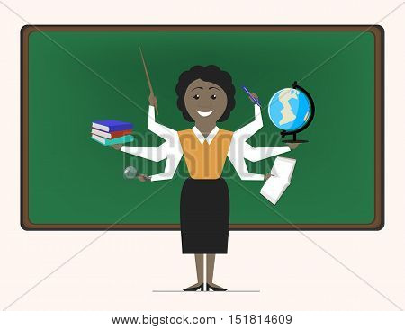 Multitasking is a school women teacher near blackboard. Vector flat