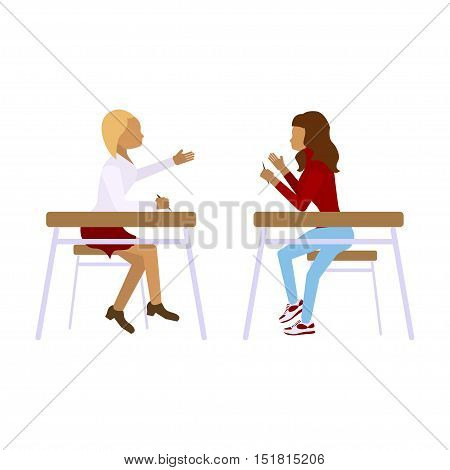 Concept of school students children girls in different poses.Pair of pupils in modern  Flat design illustrations Isolated on white background. Vector eps10