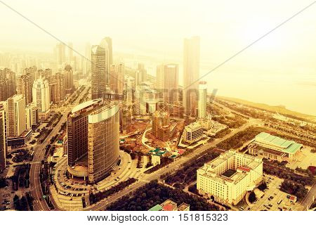 Overlooking China's Nanchang Honggu Tan modern skyscrapers