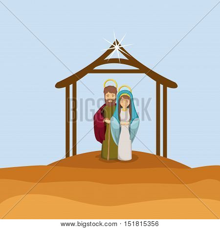 Mary and joseph cartoon icon. Holy family and merry christmas season theme. Colorful design. Vector illustration