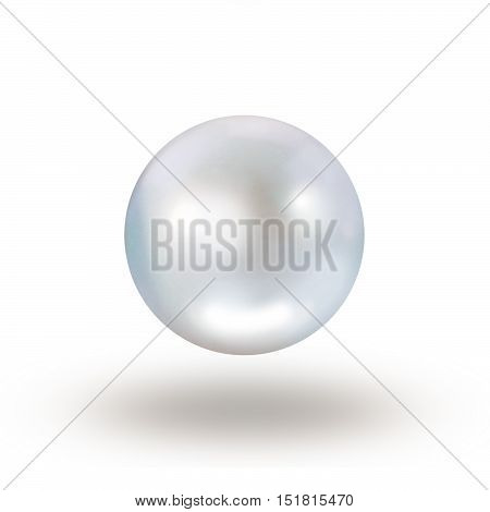White single pearl with blue hue isolated on white with drop shadow