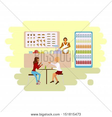 Illustration of school dining-hall with students children girls. Pair of pupils in modern flat design Isolated on white background. Friends gossip. Vector eps10