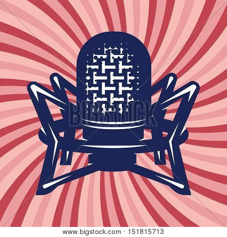 retro poster with professional studio microphone and background