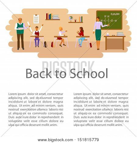 Back to school concept isolated on white background. Flat style illustration of class room with students children and teachers in different poses. Place for your text. Vector eps10