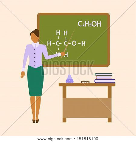 School female Teacher Chemistry in audience class concept. Educator  shows by pointer the formula on the blackboard. Vector eps10