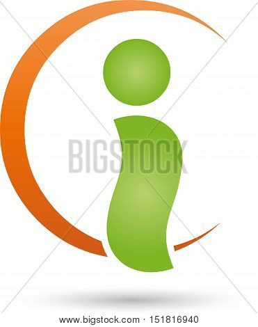 Man and circle, fitness and physiotherapy logo