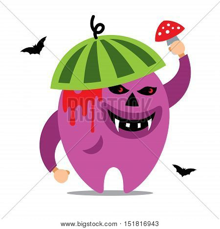 Creature in watermelon hat with fly agaric. Isolated on a white Background