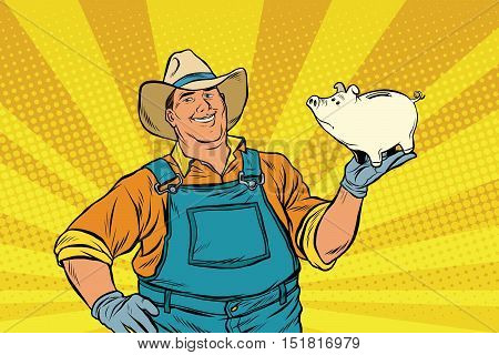 Rural retro farmer with a pig-piggy Bank. pop art retro vector illustration. Money and Finance
