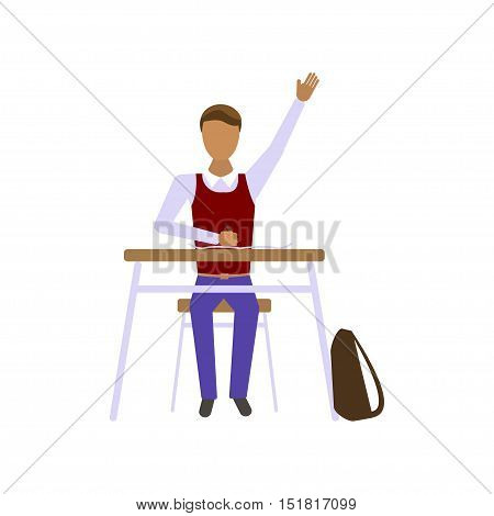 Pupil boy in school in modern flat design, School kid on lesson. Illustration of middle school children sits at a school desk. Vector eps10