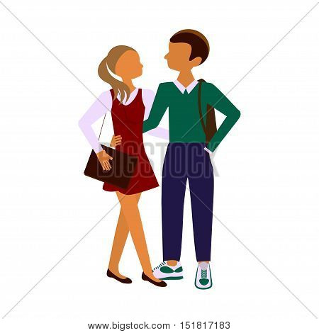 Back to school. Schoolchildren boy and girl posing together. Pair of pupils In modern flat design Isolated on white background. Vector illustration eps10