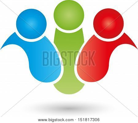 Three people together, colored, partnership and team logo