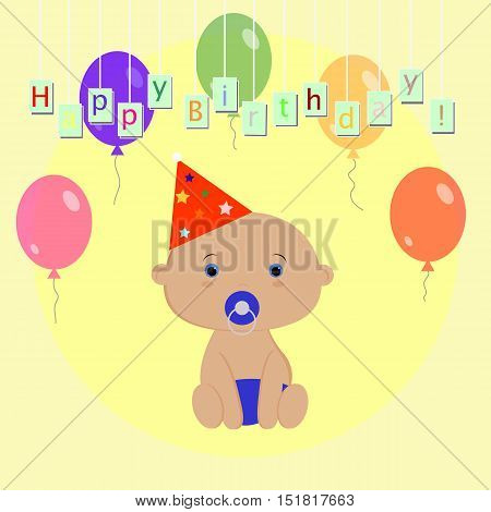 template for congratulation with birthday of the baby boy. Poster scrapbook or album page. Cute vector illustration of happy birthday. Baby shower or arrival