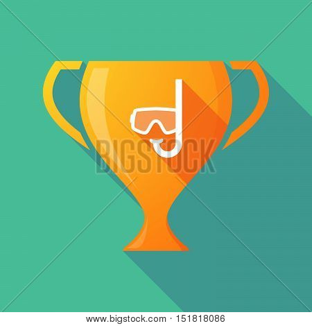 Long Shadow Gold Award Cup With A Diving Goggles