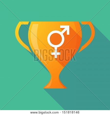 Long Shadow Gold Award Cup With A Bigender Symbol