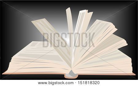 vector image of open book on a dark unevenly lit background