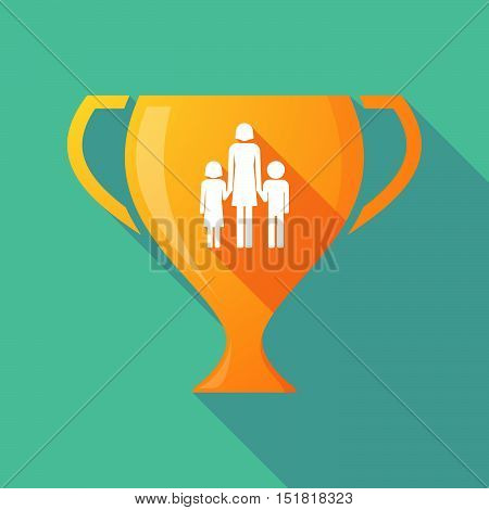 Long Shadow Gold Award Cup With A Female Single Parent Family Pictogram