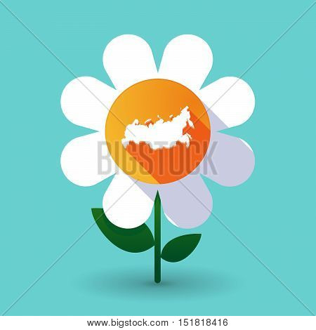 Long Shadow Daisy Flower With  A Map Of Russia