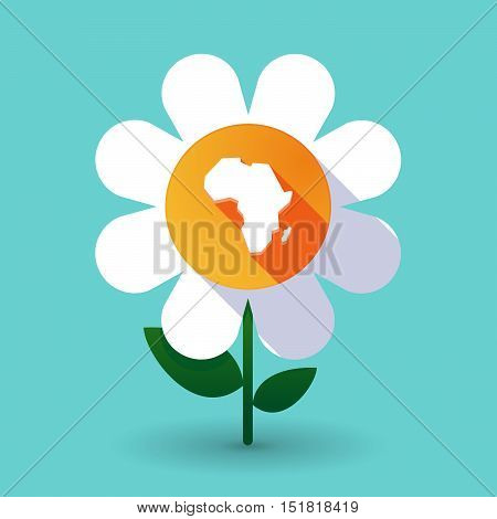 Long Shadow Daisy Flower With  A Map Of The African Continent
