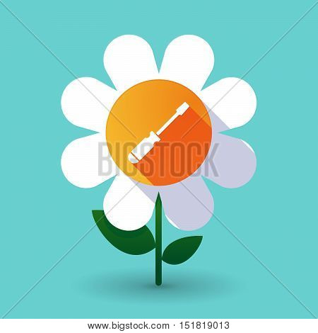 Long Shadow Daisy Flower With A Screwdriver