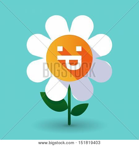 Long Shadow Daisy Flower With A Sticking Out Tongue Text Face