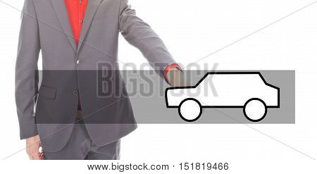 Young businessman with illustration of a car