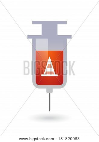 Isolated  Syringe With A Road Cone