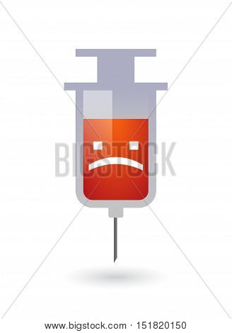 Isolated  Syringe With A Sad Text Face
