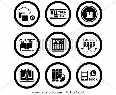 set of black isolated book concept icons