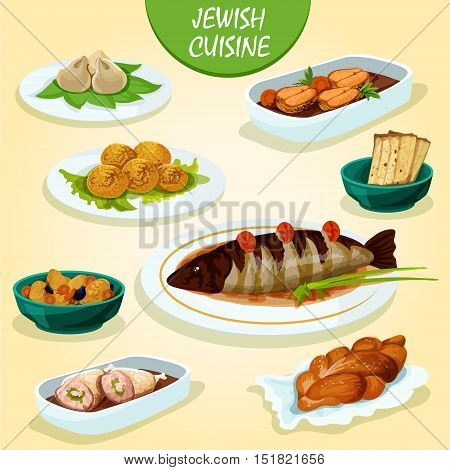 Jewish cuisine icon with matzah, stuffed pike fish and chicken leg, gefilte fish, falafel, meat dumplings kreplach, lamb stew with lentil and dried fruit, festive challah bread