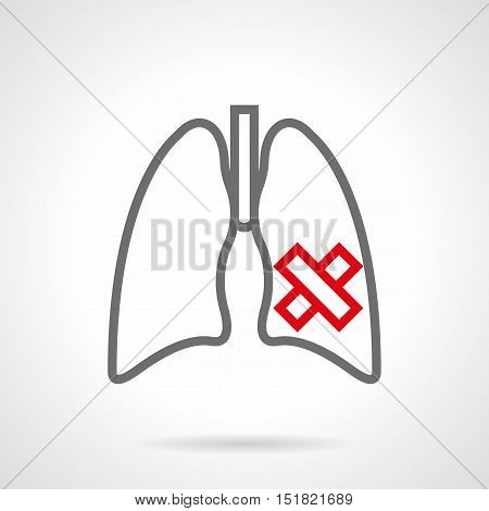Symbol of ill human lungs. Smoking harm for internal organs. Consequences of nicotine addiction. Simple gray and red line style vector icon.