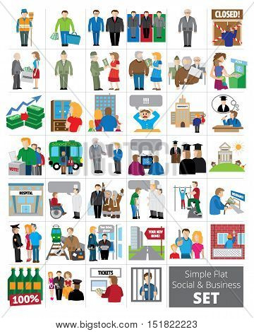 Simple Flat social and business set. 40 icons about business, sport, social aid, jobs, election.