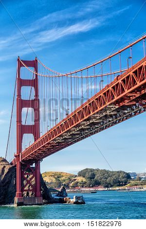 View of the Golden Gate Bridge in San Francisco Bay