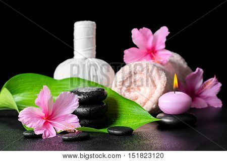 Beautiful Spa Background Of Pink Hibiscus Flowers, Leaf, Candle, Towel, Thai Herbal Compress Ball  A