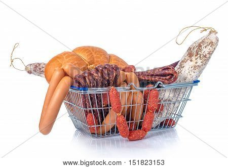 Assortment Of Tasty Delicious Dried And Boiled Sausages In Shopping Food Basket Is Isolated On White