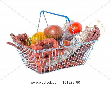 Shopping Basket Full Of Food Including Fresh Of Tasty Delicious Dried And Boiled Sausages, Tomatoes