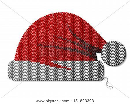Santa Claus hat of knitted fabric isolated on white. Fragment of knitting in shape of red christmas hat. Vector image for christmas new years day decoration winter holiday costume silvester etc