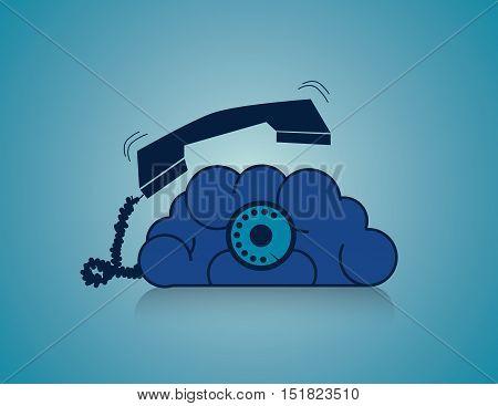 Calling Brain. Business Concept Illustration. Vector Flat