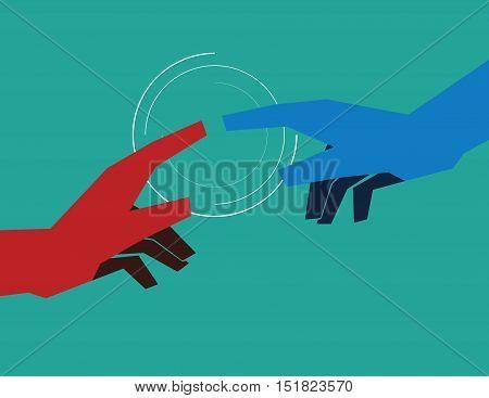 Finger Touch. Concept Business Illustration. Vector Flat