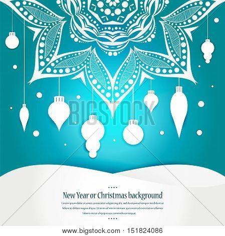 Celebratory bright background for Christmas and New Year. Greeting card. White Christmas decorations, toys, snow falling on a blue gradient background, space for text. Mandala. The circular pattern.